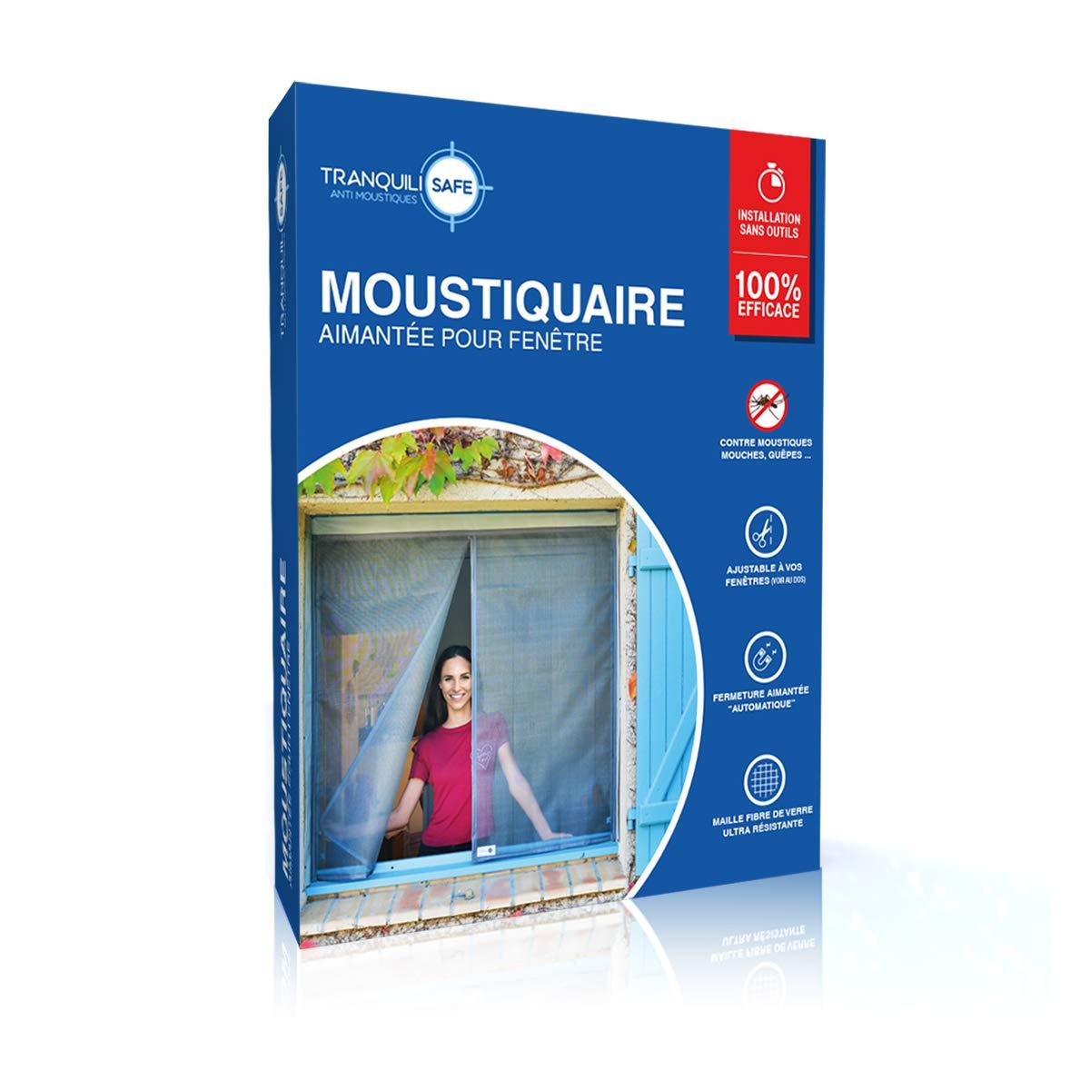 Mosquitera ajustable magnética tranquilisafe® para ventana estándar y sobre medida - Pantalla antimosquitos y anti moscas - Mosquitera automática (ANCHO 120/136 - ALTURA 135/143)