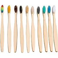 KKmoon 10 unidades/conjunto Escova de dente de bambu natural cerdas macias Escova de dente de cabo de bambu para uso…