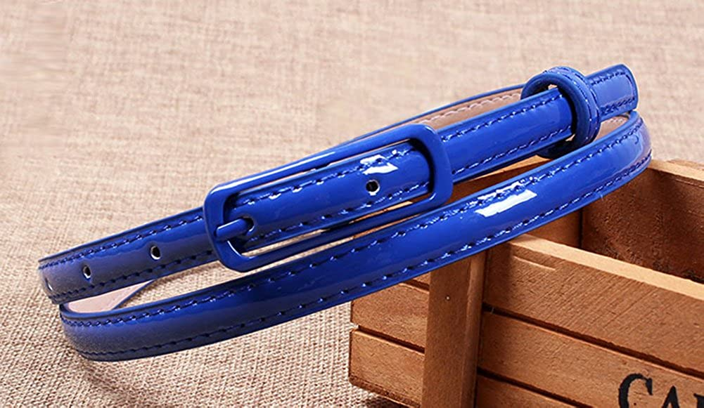 di Solid Color Selighting Moda Cintura Sottile in Pelle per Vestito Estate Accessori Cinture con Fibbia in Lega per Jeans Abito Camicia