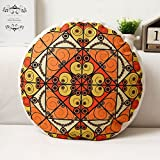 LIANGJUNkaodian Round Cushions Lumbar Pads Support Waist Ethnic Style Anti-Dirty Sofa Pillow Office Napping Futon Bay Window Pad Wear-Resistant Washable Bedside Backrest, 5 Colors, 45X45cm