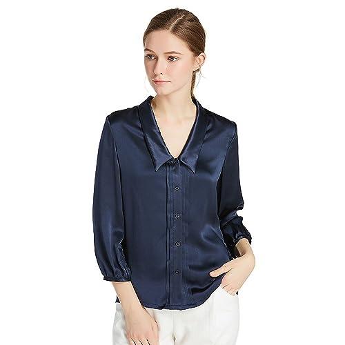 Lilysilk Blusa de Seda con Cuello Chelsea-Camisa 100% Seda Natural DE 22 Momme,Super Suave Y Lujosa