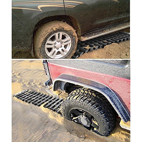 Mr.Go Auto Emergency Traction Aid, Portable Car Vehicle Tyre Grip Recovery Tracks Traction Mat Pad Sand Ladder -Free From Off-road Mud, Snow, Ice, and Sand - 2 Pack - Black by Mr.Go Outdoors & Sports (Image #2)