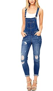 870e5c18f35 Misassy Womens Ripped Denim Bib Overall Jumpsuit Jeans Skinny Distressed  Long Rompers