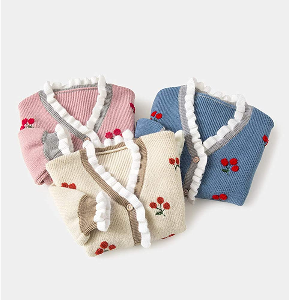Dragon Honor Baby Girl Cardigan Cherry Embroidery Buttons Knit V-Neck Sweater Autumn Winter Jacket