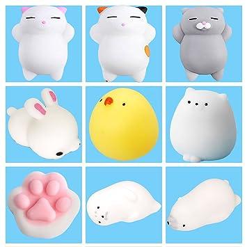 9Pcs Mini Kawaii suave Cat pollo cierre elástico Squishy ...