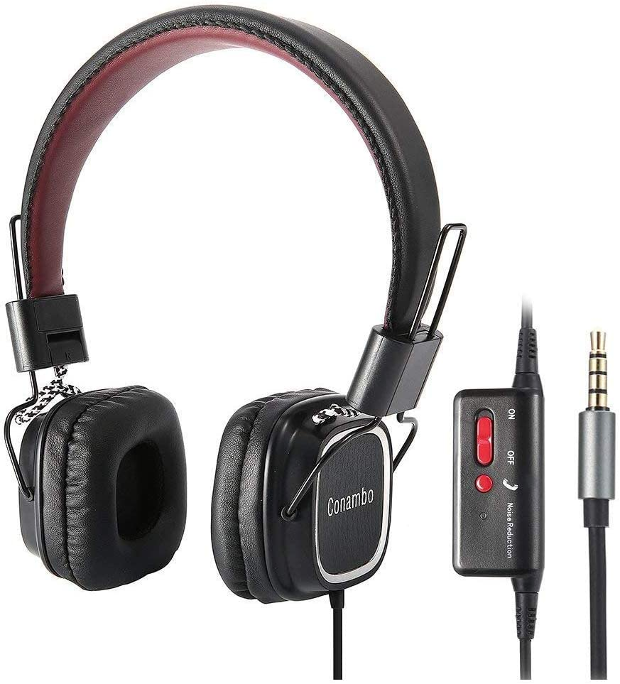 Conambo CQ4 Active Noise Cancelling Headphones, Wired Foldable ANC Headphones w/Mic for iPhone/iPad/iPod/Samsung/LG iOS Android Smartphones and Laptop PC with Airplane Adapter, Black