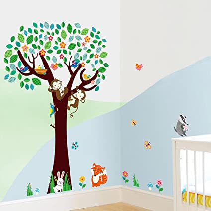 8df8d36288 BIBITIME Woodpecker pecking Tree Hanging Monkey Wall Decal Flower Branch  Birds Birdcage Fox Butterfly White Rabbit