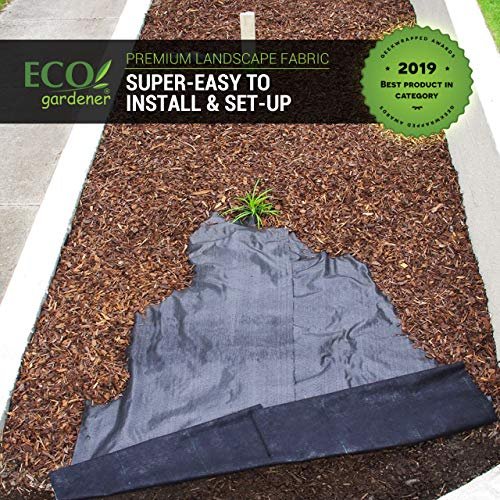 ECOgardener Premium 5oz Pro Garden Weed Barrier Landscape Fabric Durable & Heavy-Duty Weed Block Gardening Mat, Easy Setup & Superior Weed Control, Eco-Friendly & Convenient Design, 4ft x 250ft