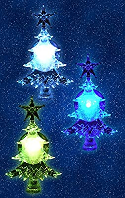 LED Tree Color Changing Led Lights Suction Cups Attached to Back for Hanging in a Window Christmas Decoration Acrylic 4 Inch