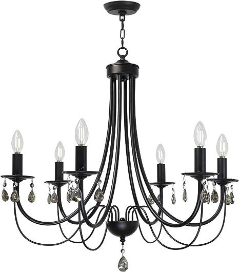 Amazon Com Lucidce Crystal Chandelier Lighting Modern Dining Room Lighting Fixtures Hanging Black 6 Lights Candle Island Pendant Lighting For Bed Room Living Room Home Improvement