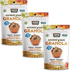 Hippie Snacks Gluten Free Organic Granola - Maple Quinoa, 3 x 160 gram pack