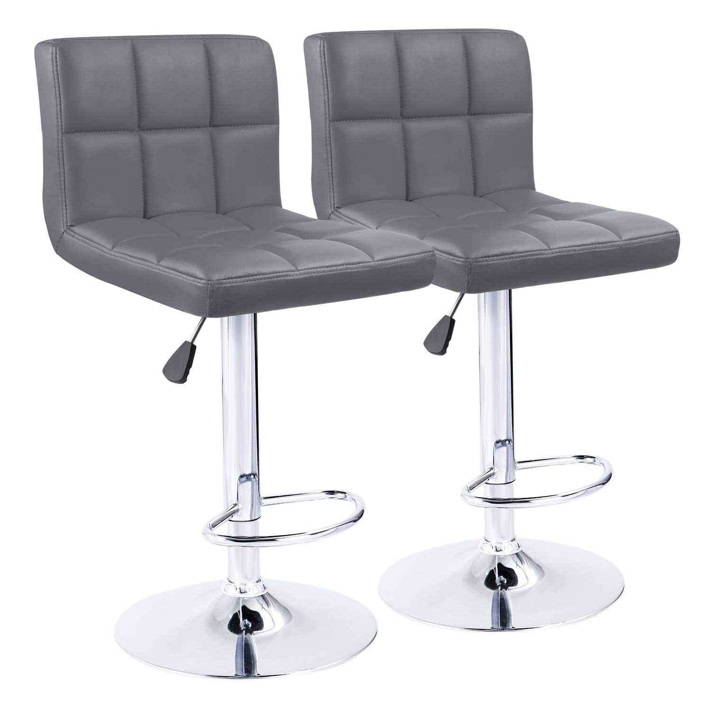 KaiMeng Bar Stools Modern Square Counter Height Bar Stool PU Leather Swivel Adjustable Stool Set of 2(Gray) by KaiMeng