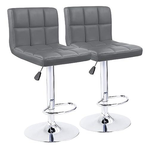 KaiMeng Bar Stools Modern Square Counter Height Bar Stool PU Leather Swivel Adjustable Stool Set of 2 Gray