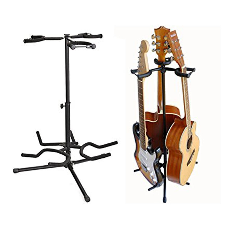pesters profesional altura ajustable trípode para guitarra eléctrica guitarra Bass Ukelele Stands, tres cabezales, color negro (US stock): Amazon.es: ...
