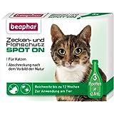Zecken- & Flohschutz Spot On für Katzen | Schutz vor Zecken und Flöhe | Mit Margosa-Extrakt | Anti Zecken & Anti Flöhe | 3 x 0,8 ml Pipetten