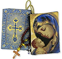 Blessed Virgin Mary Madonna & Child Icon Cloth Tapestry Rosary Zipper Close Pouch Keepsake Holder