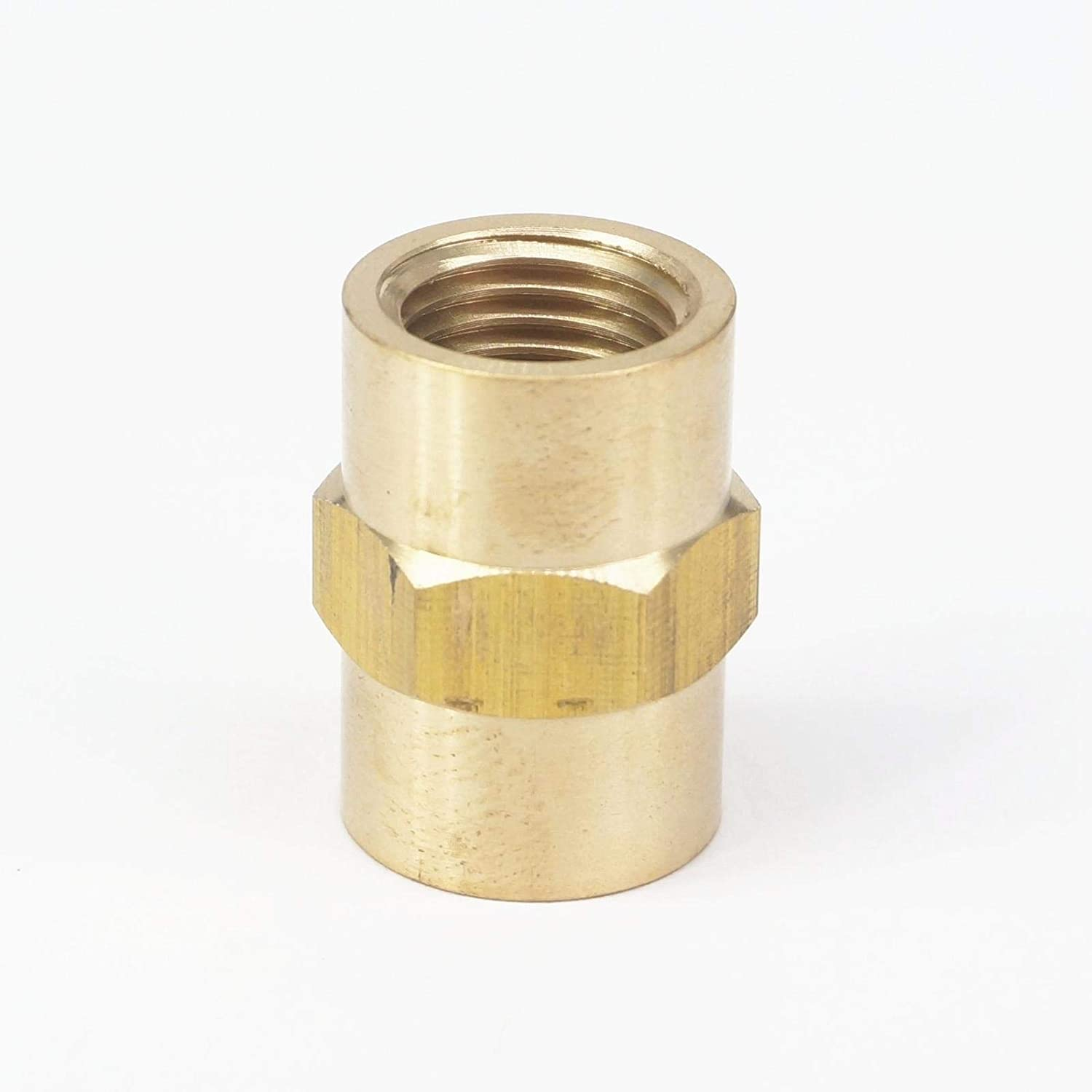 Xucus 1//4 BSPT x 1//4 NPT Female Hex Nipple Reducer Brass Pipe Fitting Connector Adapter Water Gas Fuel Max Pressure 229 PSI