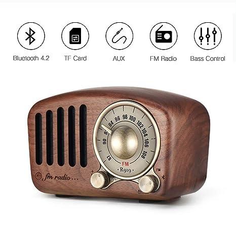 Vintage Radio Retro Bluetooth Speaker Aocome Walnut Wooden Fm Radio With Classic Style Strong Bass Enhancement Loud Volume Bluetooth 4 2 Wireless