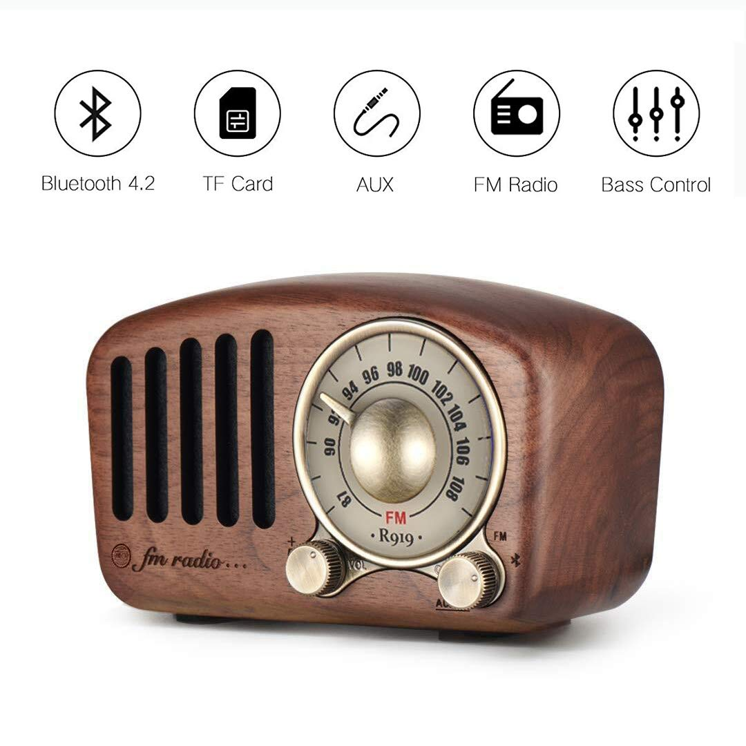 Vintage Radio Retro Bluetooth Speaker- Aocome Walnut Wooden FM Radio with Classic Style, Strong Bass Enhancement, Loud Volume, Bluetooth 4.2 Wireless Connection, AUX TF Card & MP3 Player