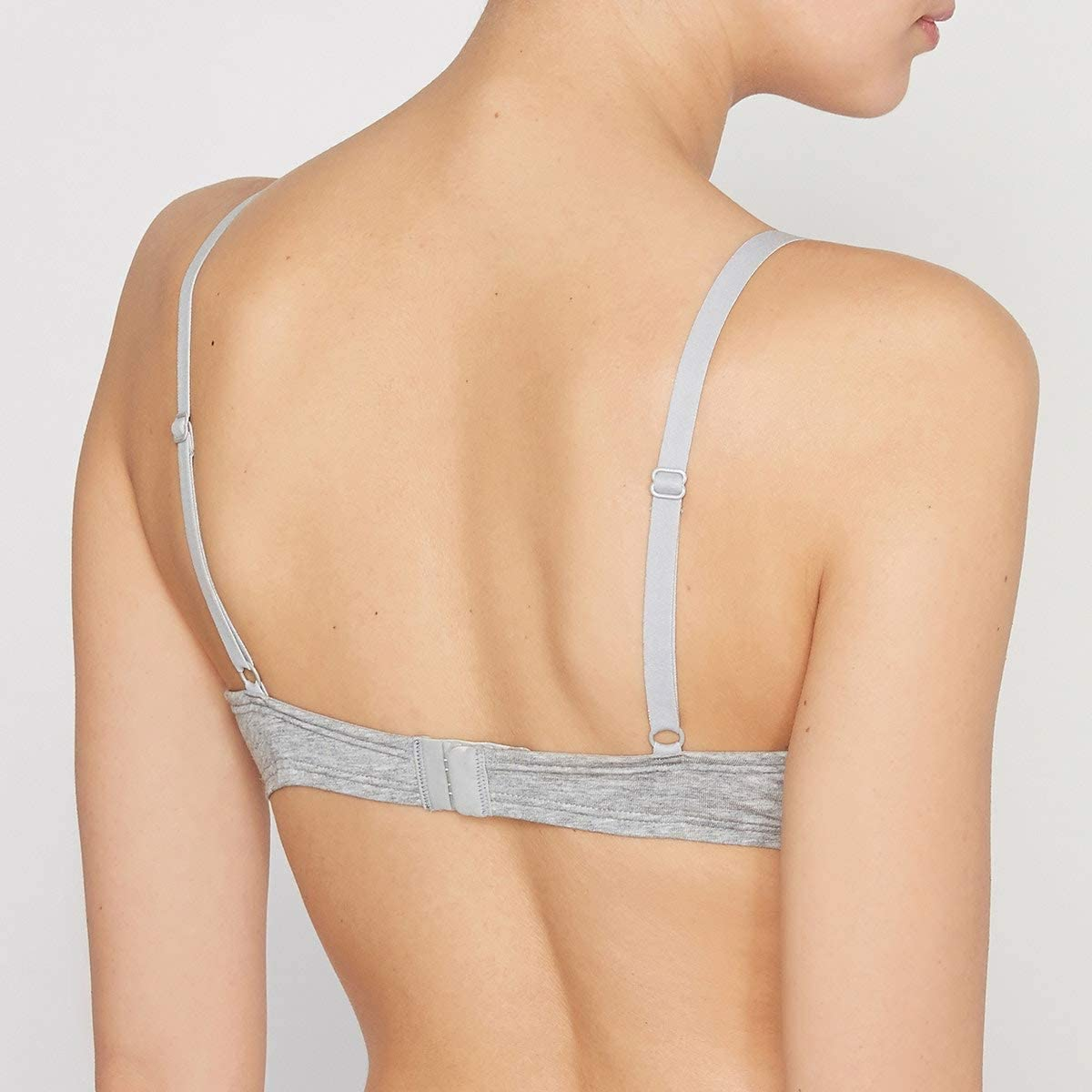 La Redoute Collections Womens Padded Cotton Bra Grey Size US 32C
