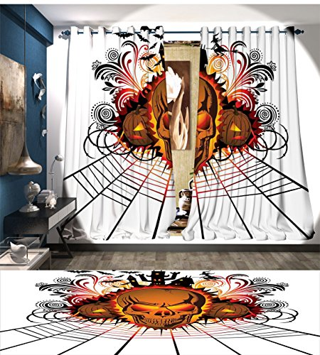 Halloween Patterned Drape For Glass Door Angry Skull Face on Bonfire Spirits of Other World Concept Bats Spider Web Design Waterproof Window Curtain (Glass Block Decorations For Halloween)