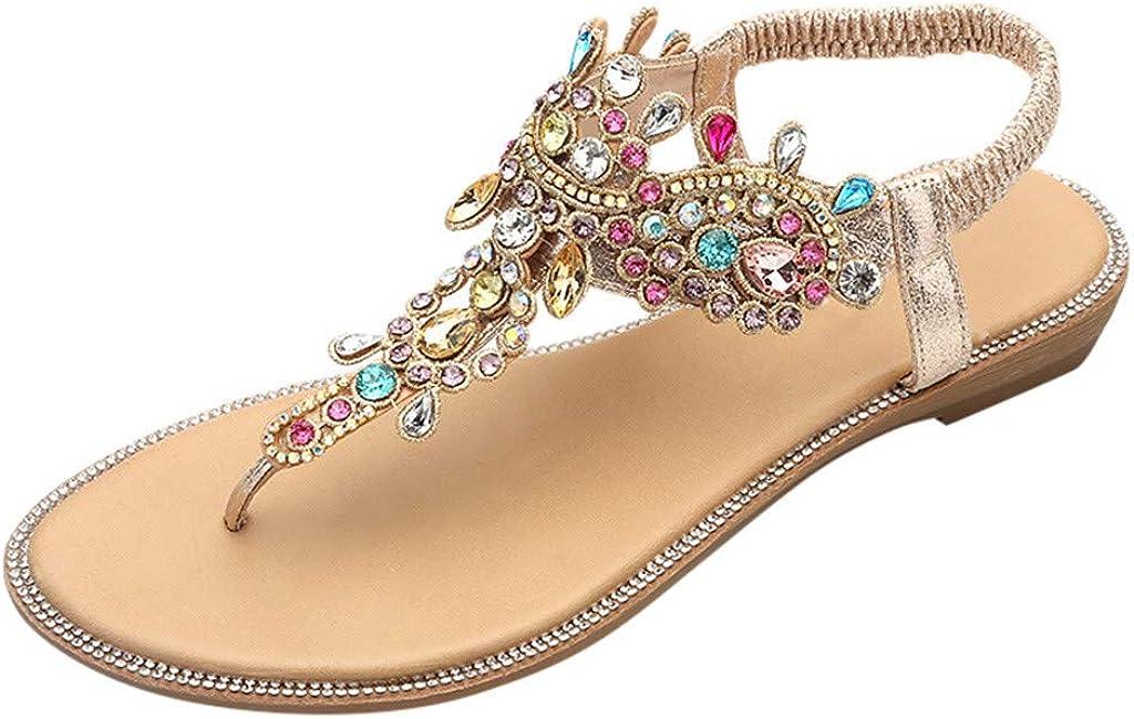PAOLIAN Sandalias Mujer Verano 2020 Fiesta Planas Zapatos Mujer Elegantes Casual Sandalias de Mujer Vestir Playa Bohemia Bonitas Chanclas Dedo T-Strap con Piedras