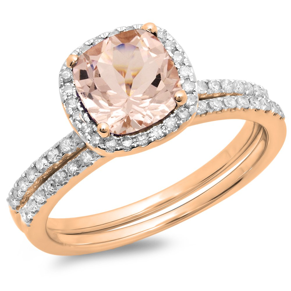 Dazzlingrock Collection 10K Cushion Cut Morganite & Round Cut White Diamond Bridal Halo Engagement Ring Set, Rose Gold, Size 7.5