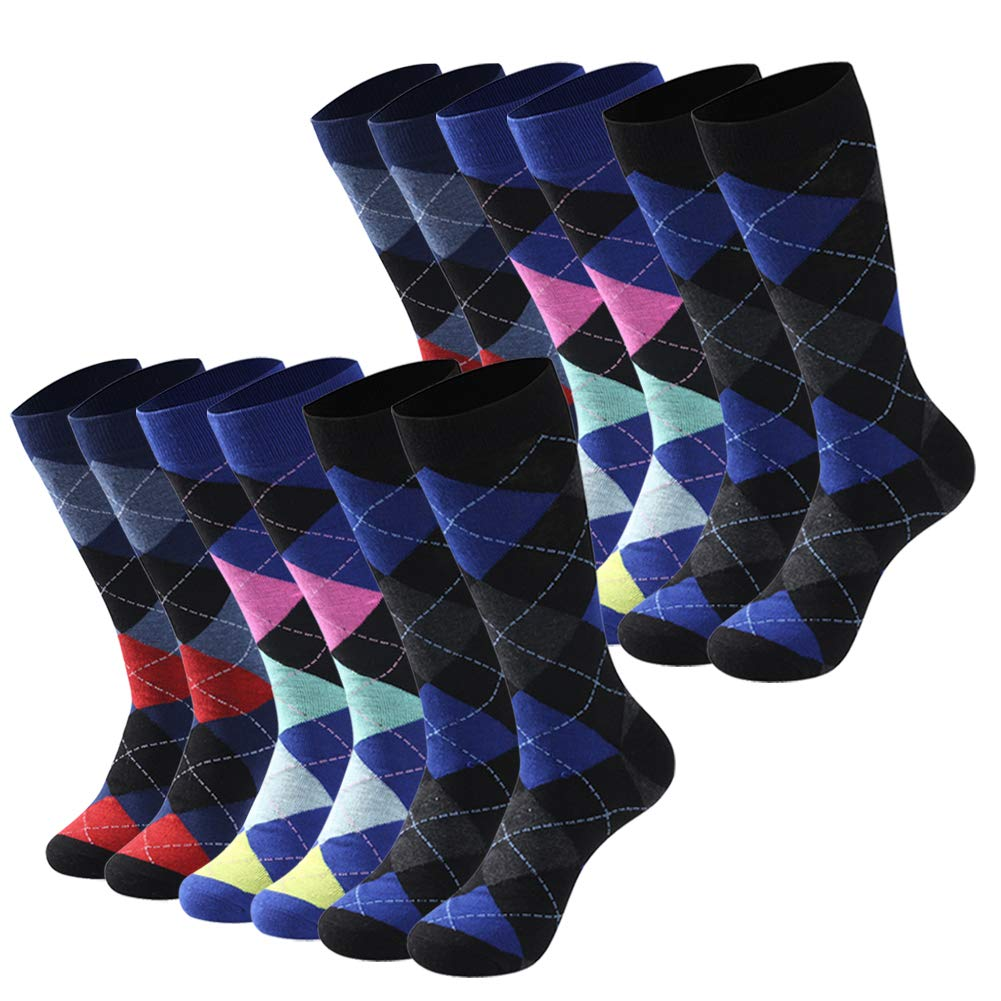 Diwollsam Bright Argyle Socks, Mens Womens Soft Colorful Dress Trouser Funny Crazy Art Patterned Dry Fit Sport Casual Business Crew Socks Cool,12 Pairs(Argyle, L) by diwollsam