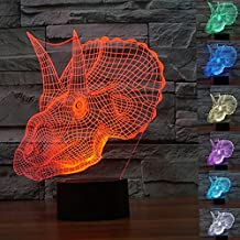 WONFAST 3D Optical Visualization Illusion Lamp Herbivorous Dinosaurs Head 3D Night Light Children Kids Bedroom Decoration with Touch Button,Gift for Christmas (Dinosaur)