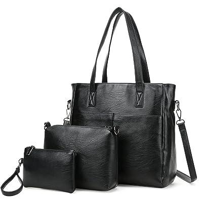 26f4cf89d5d7 Amazon.com  Women Top Handle Handbags Tote Bag Purse 3 piece Large Capacity  (Black)  Shoes