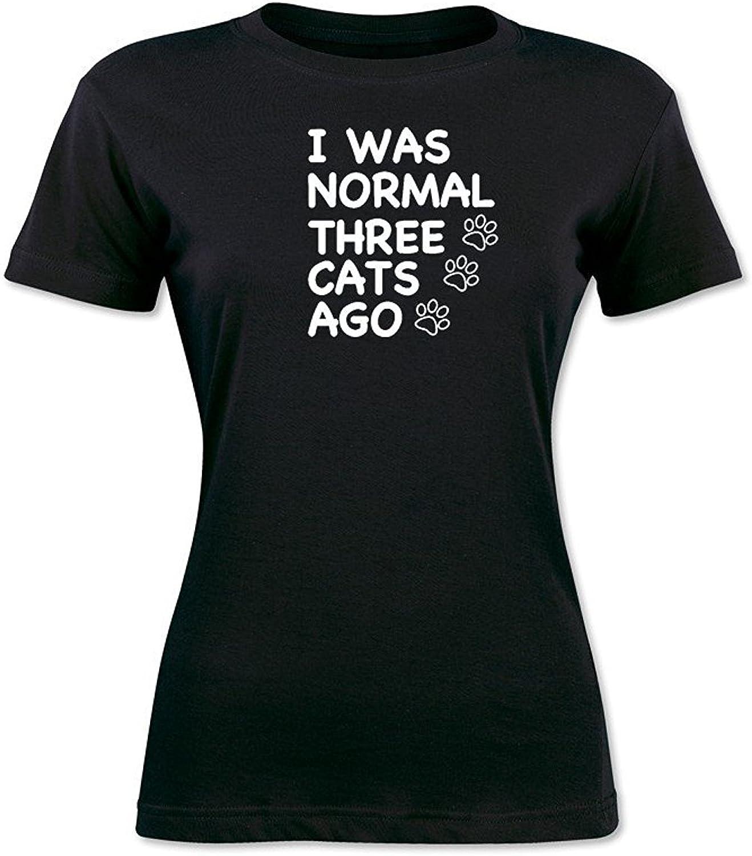 Davina I was Normal Three Cats Ago Funny Graphic Tee Womens T-Shirt Black