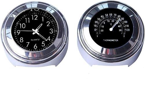 MASO 2pcs 7/8 Inch Motorcycle Handlebar Clock and Thermometer