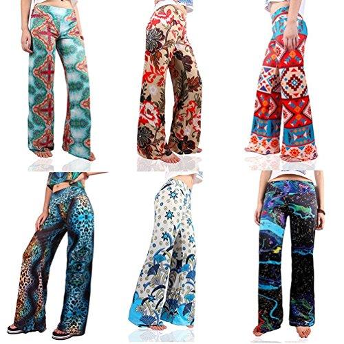 Stampate Chic Pantalone Eleganti Donna Mieuid Libero Accogliente Larghi Cute Vita Per Tempo Sciolto Estivi Fashion Elastica Pantaloni Vintage fFXR6x