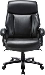 STARSPACE High Back Big & Tall 400lb Bonded Leather Office Chair Large Executive Desk Computer Swivel Chair - Heavy Duty Metal Base, Adjustable Tilt Angle, Ergonomic Design for Lumbar Support