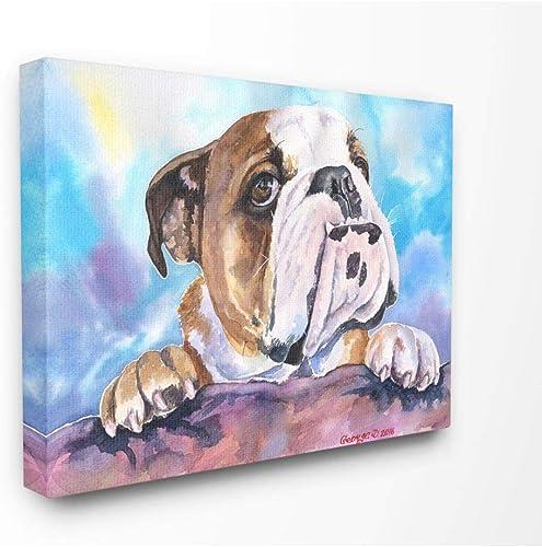 Stupell Industries English Bulldog Dog Pet Animal Watercolor Painting Canvas Wall Art