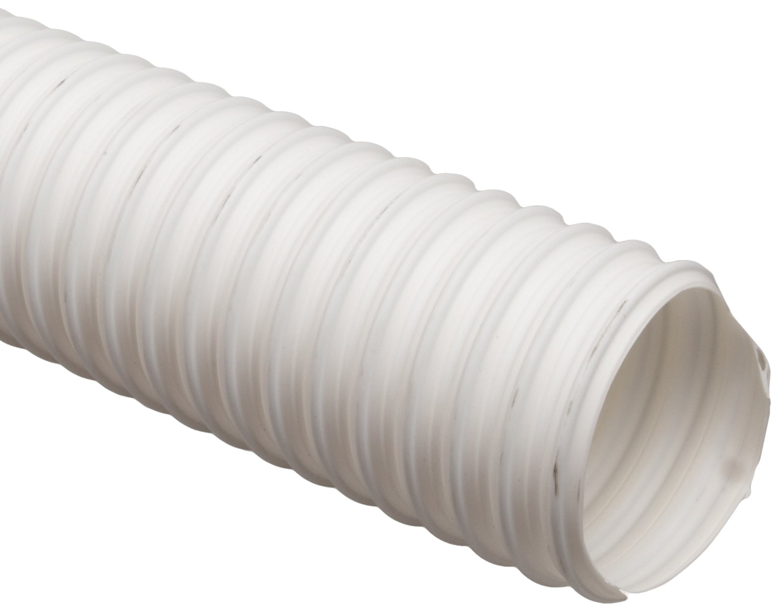 Flexadux T-7 Thermoplastic Rubber Duct Hose, White, 6'' ID, 0.030'' Wall, 25' Length