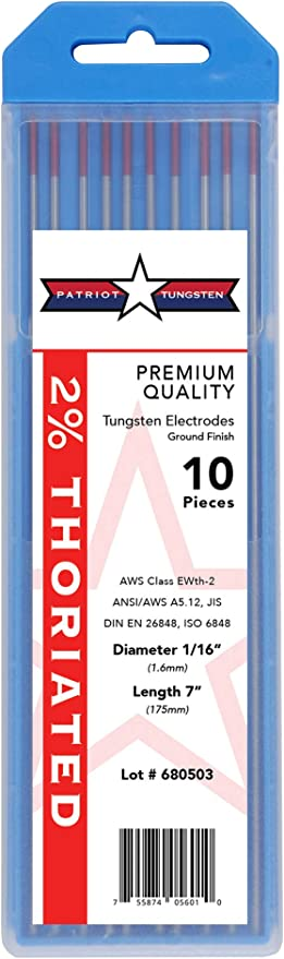 """Red, WT20 TIG Welding Tungsten Electrodes 2/% Thoriated 3//32/"""" x 7/"""" 10-Pack"""