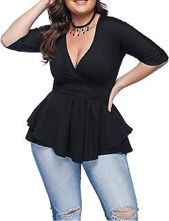 0d13abb2e78dee EverChic Women's Summer Plus Size Sexy Deep V Neck Pleated Half Sleeve  Ruched Promenade Tops