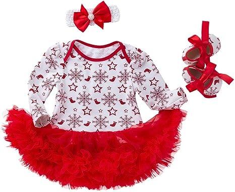 Baby Girls Tutu Dress Outfit Christmas Santa Costume Leotard Romper Xmas Clotehs