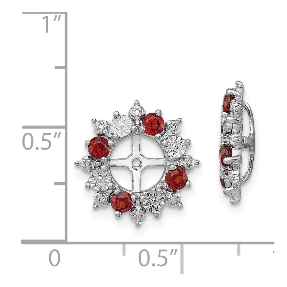 FB Jewels Solid Sterling Silver Rhodium Garnet Earring Jacket