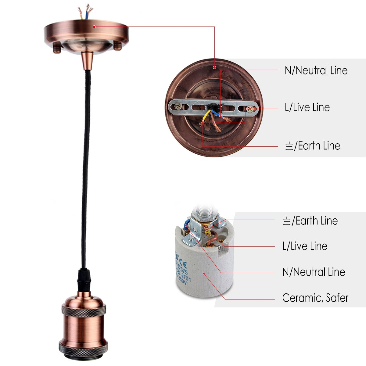 Greensun Led Lighting Vintage 4 Piece E27 Lamp Socket Wiring A Ceiling Light Without Earth Antique Edison Holder Accessory With 135 M 3 Wire Cable For Pendant R1 Ceramic