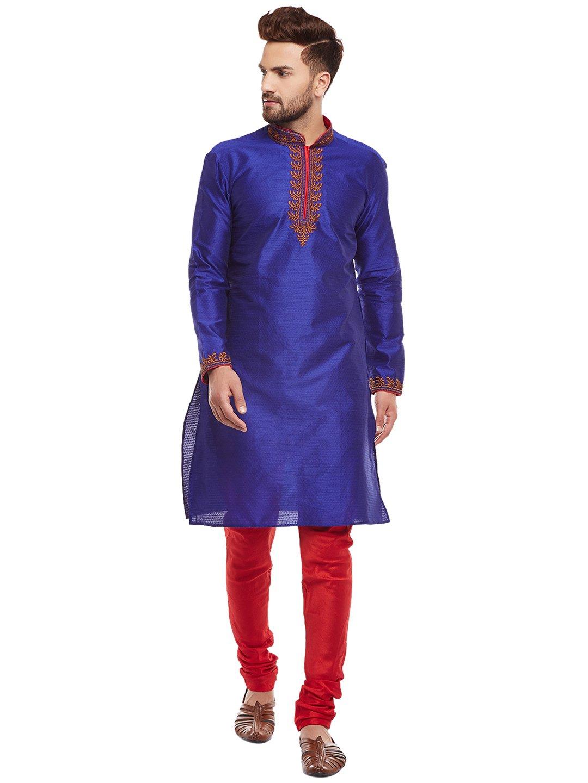 Larwa Men's Silk embroideded Kurta Pyjama Set Special for Festive, Wedding, Party