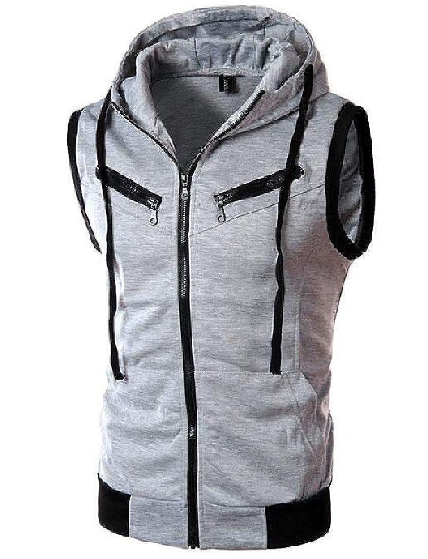 CRYYU Men Sleeveless Hooded Contrast Tank Top Plus Size Full Zip Sweatshirt