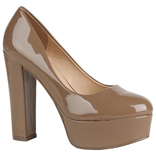 newest 92ee7 1a8e2 Stiefelparadies Damen Plateau Pumps mit Blockabsatz Lack Metallic Flandell