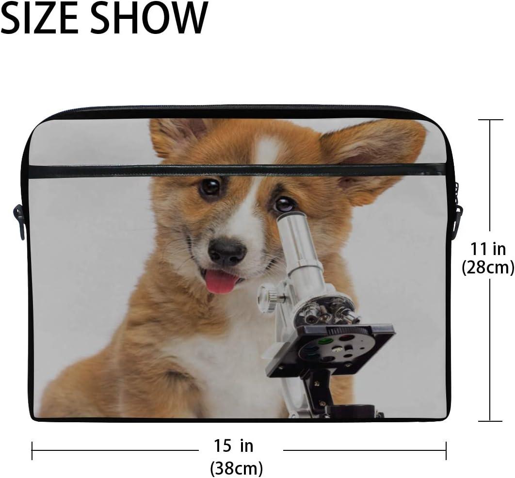 Laptop Bag Dog Vet Microscope On White 15-15.4 Inch Laptop Case College Students Business People Off Briefcase Messenger Shoulder Bag for Men Women