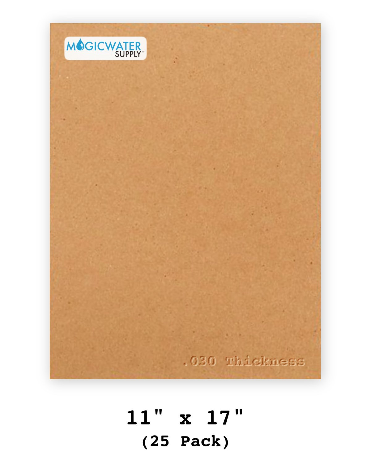 25 Chipboard Sheets 11 x 17 inch - 30pt (Point) Medium Weight Brown Kraft Cardboard for Scrapbooking & Picture Frame Backing (.030 Caliper Thick) Paper Board | MagicWater Supply MWS