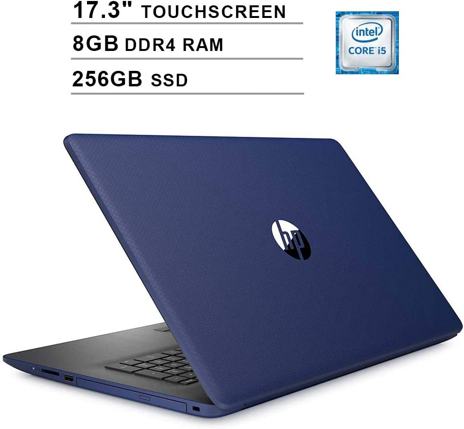 2020 Newest HP Pavilion 17.3 Inch Touchscreen Laptop (Intel 4-Core i5-8265U up to 3.9GHz, 8GB DDR4 RAM, 256GB SSD, Intel UHD 620, WiFi, Bluetooth, HDMI, Webcam, DVD, Windows 10 Home) (Blue)
