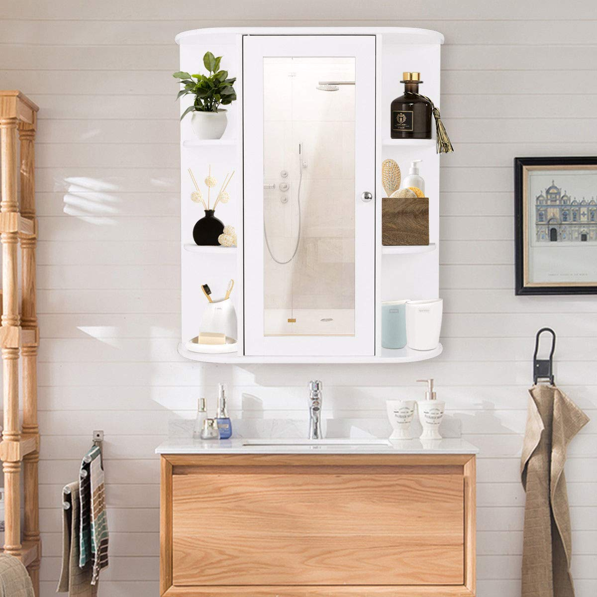 TANGKULA Bathroom Cabinet Single Door Wall Mount with Mirror Organizer Storage Cabinet(2 Tier Inner Shelves) by TANGKULA (Image #2)