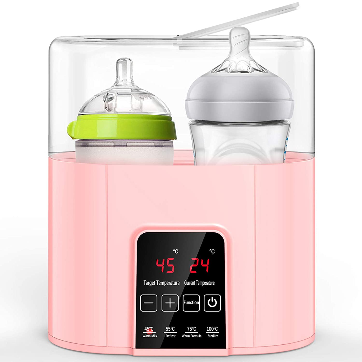 Double Baby Bottle Warmer & Sterilizer with Water Level Mark, Annsky 7-in-1 Fast Baby Breast Milk Warmer & Defrost and Food Formula Heater with LED Temperature Control,BPA-Free