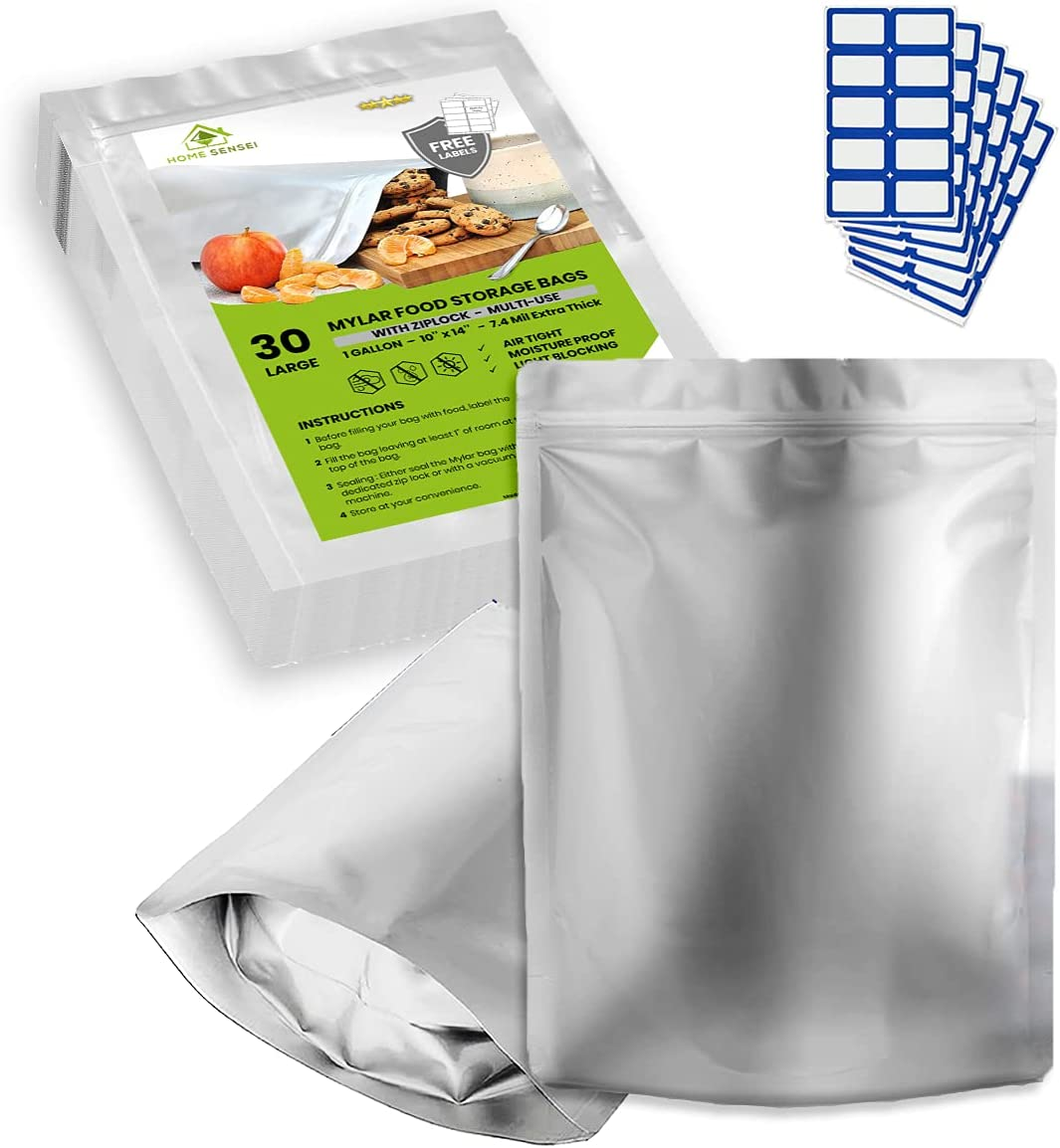 """30 x 1 Gallon Mylar Bags for Food Storage - Resealable Mylar Bags - 10""""x15"""" Mylar Ziplock Bags Extra Thick 7.4 Mil - Large Mylar Bag for Long Term Food Storage - 30 Labels - Sealable bags for food"""